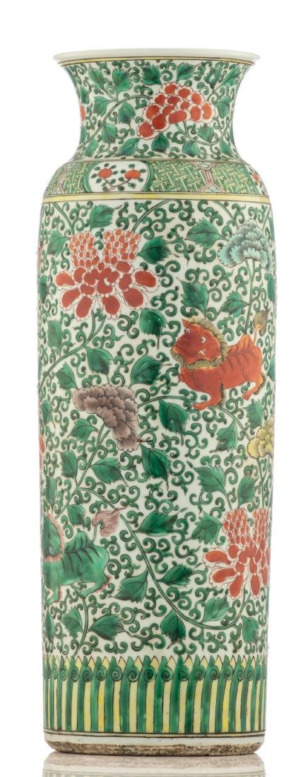 A large Chinese famille verte cylindrical vase, - 2