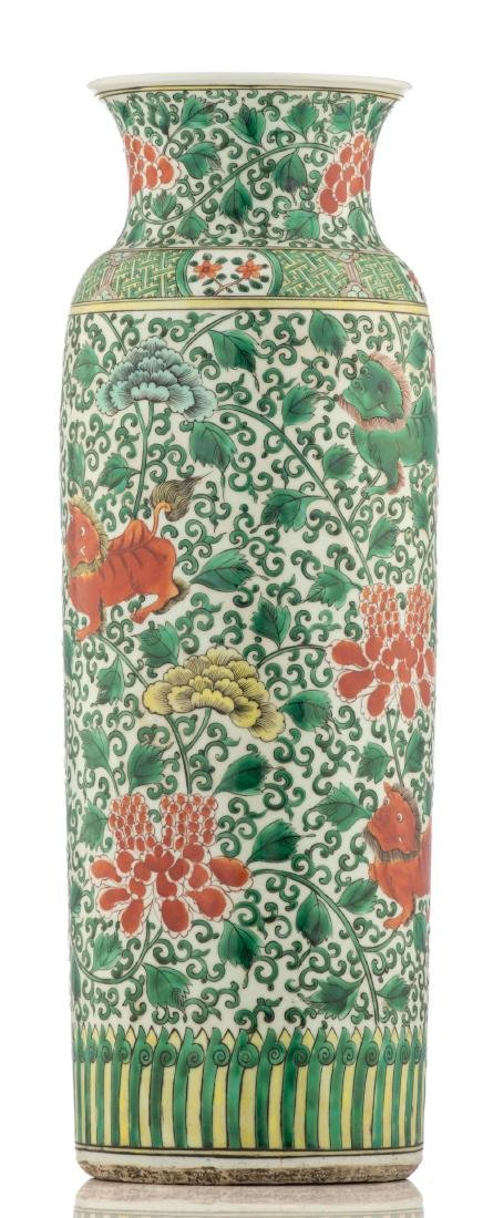 A large Chinese famille verte cylindrical vase, - 3