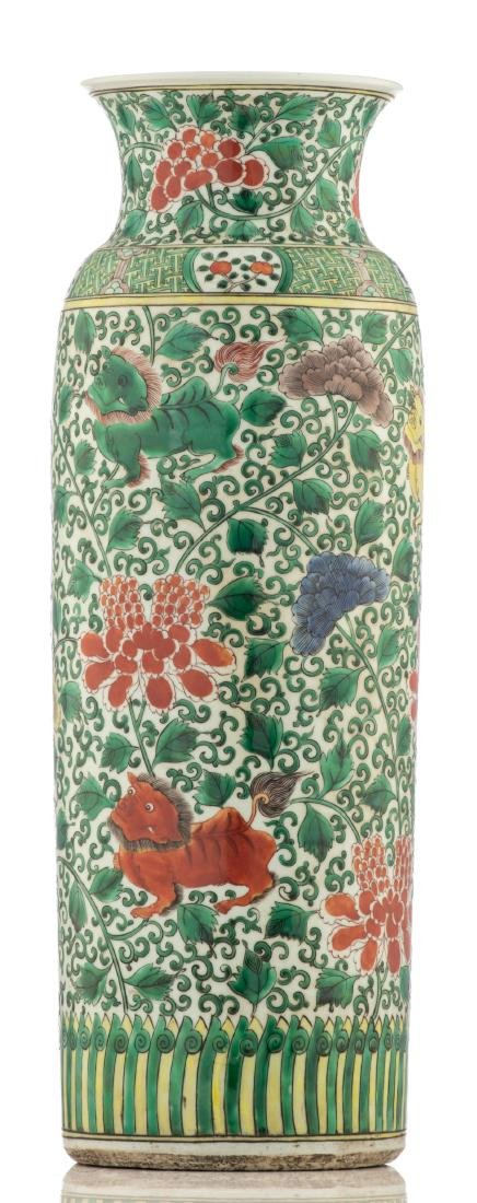 A large Chinese famille verte cylindrical vase, - 4