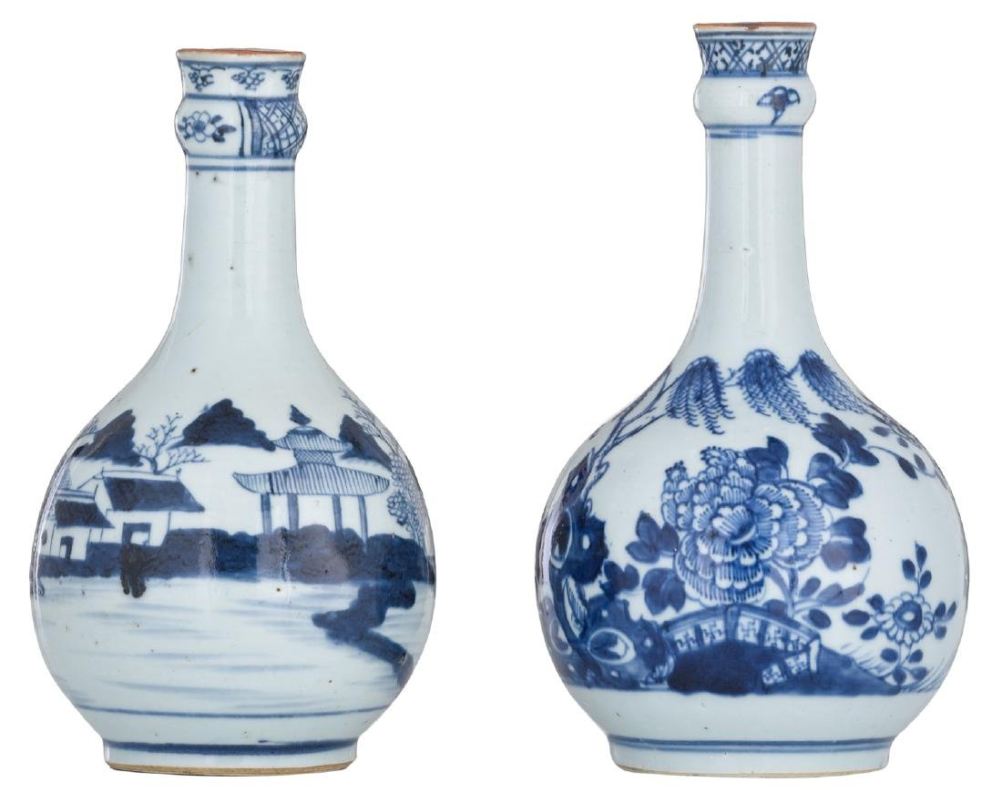 Two Chinese blue and white bottles, one decorated with