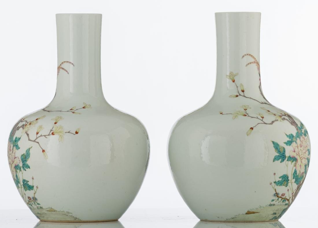 A pair of Chinese famille rose tianqiuping vases, - 2