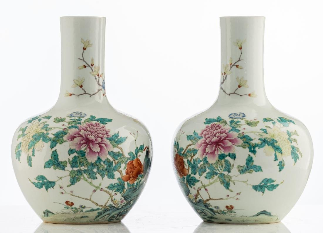 A pair of Chinese famille rose tianqiuping vases, - 3