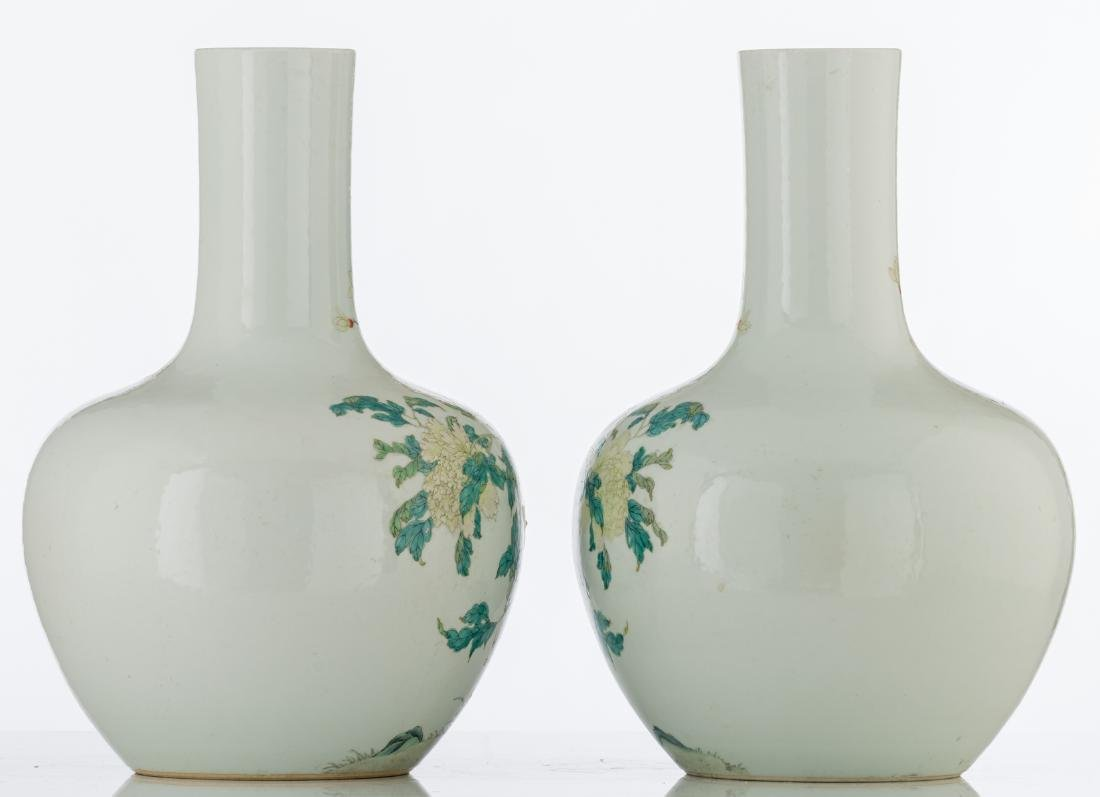 A pair of Chinese famille rose tianqiuping vases, - 4