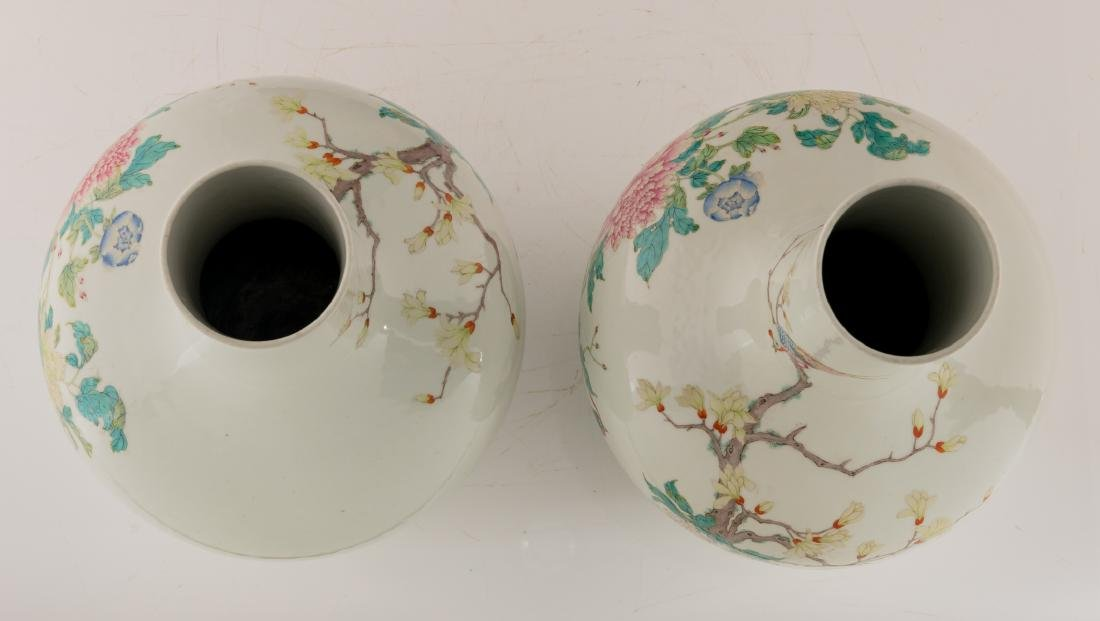 A pair of Chinese famille rose tianqiuping vases, - 5