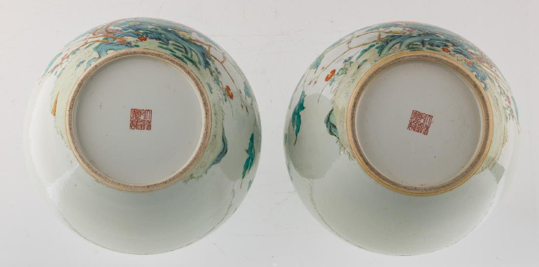 A pair of Chinese famille rose tianqiuping vases, - 6