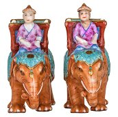 Two Chinese famille rose elephants with on their back a