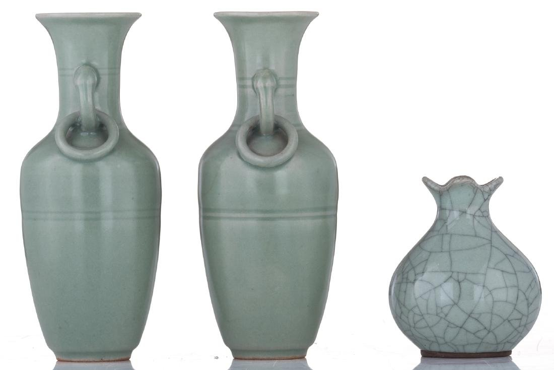 A lot of two small Chinese celadon stoneware vases and - 2