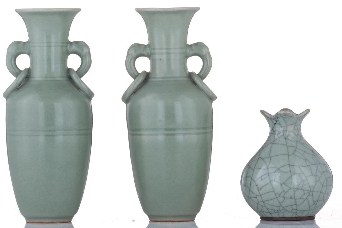 A lot of two small Chinese celadon stoneware vases and - 3