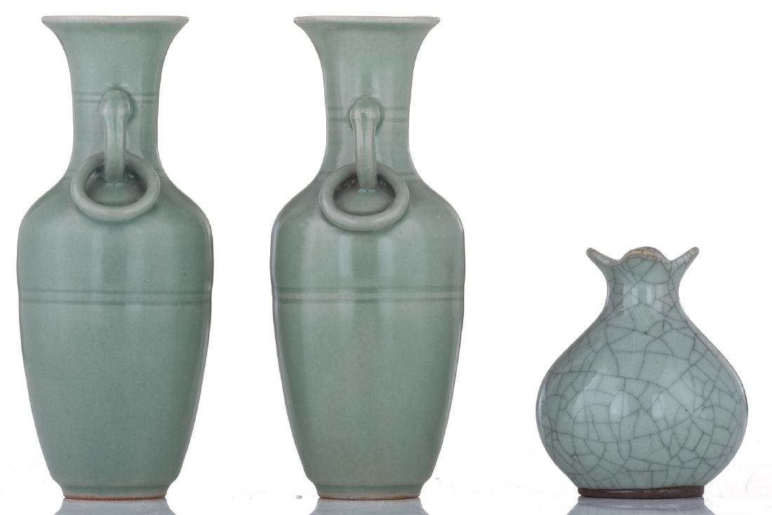 A lot of two small Chinese celadon stoneware vases and - 4