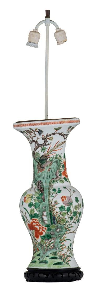 A Chinese famille verte vase, decorated with birds and