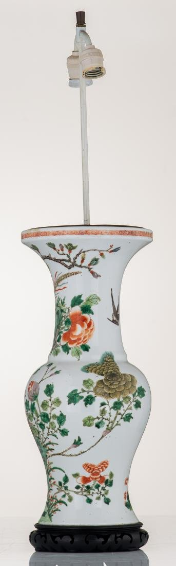 A Chinese famille verte vase, decorated with birds and - 2