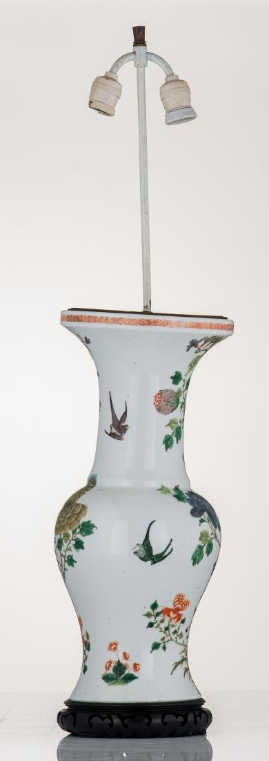 A Chinese famille verte vase, decorated with birds and - 3