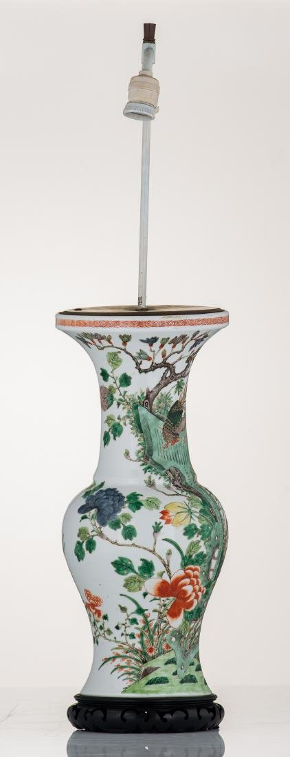 A Chinese famille verte vase, decorated with birds and - 4