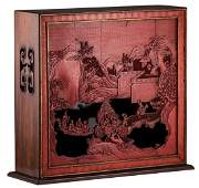 A Chinese reverse red and black lacquered wooden table