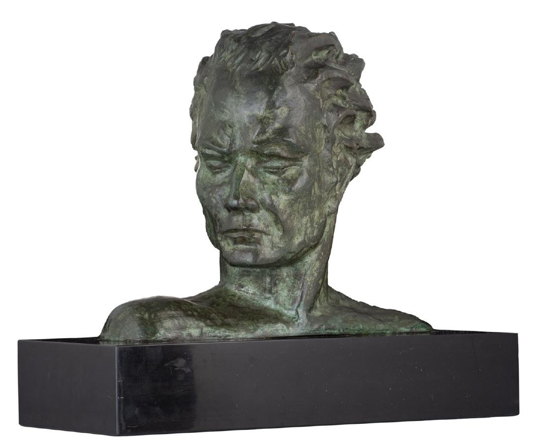 Noel L., a bust of a man, green patinated bronze on a