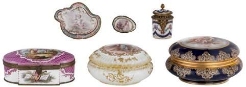 Two large blue royal porcelain bonbonnieres with