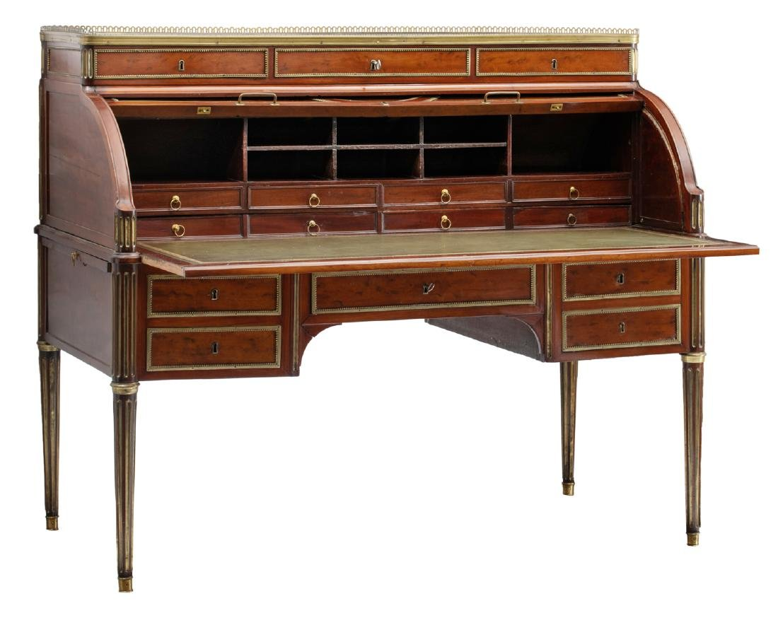A fine French Louis XVI style bureau a cylindre after