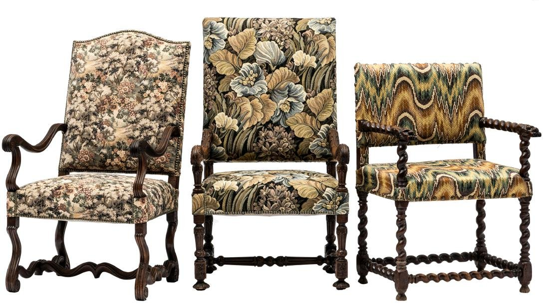 A Louis XIII walnut armchair, the armrests richly