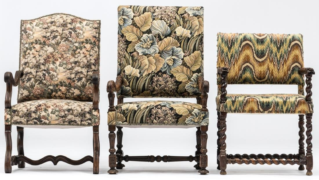 A Louis XIII walnut armchair, the armrests richly - 2