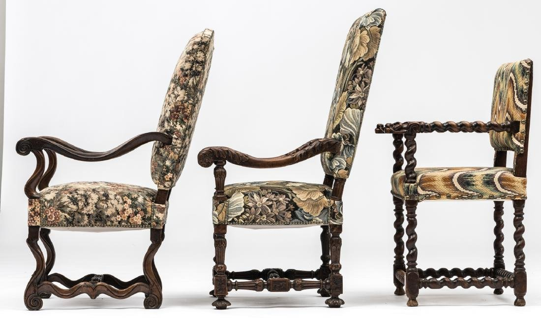 A Louis XIII walnut armchair, the armrests richly - 3