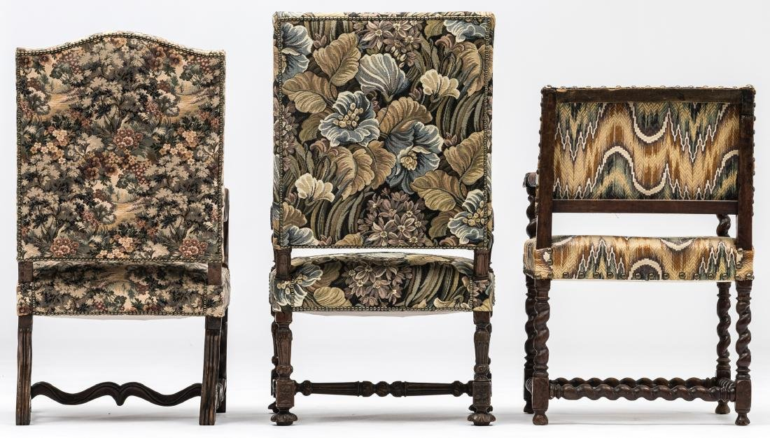 A Louis XIII walnut armchair, the armrests richly - 4