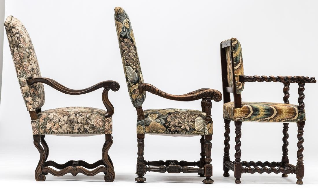 A Louis XIII walnut armchair, the armrests richly - 5