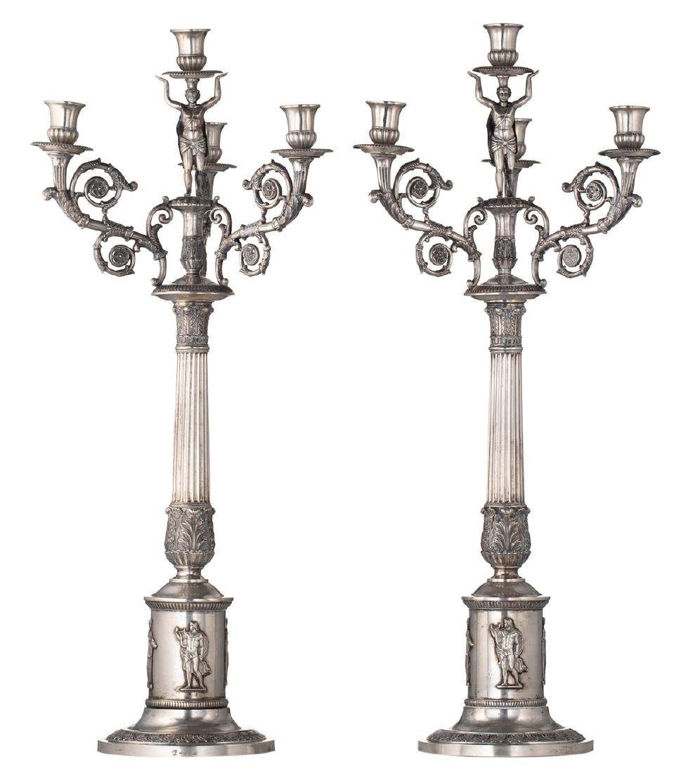 A fine pair of neoclassical silver candlesticks,