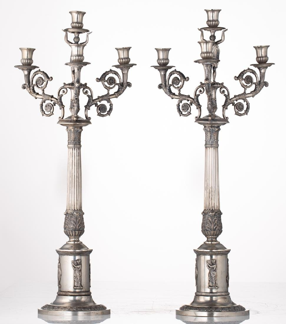 A fine pair of neoclassical silver candlesticks, - 2