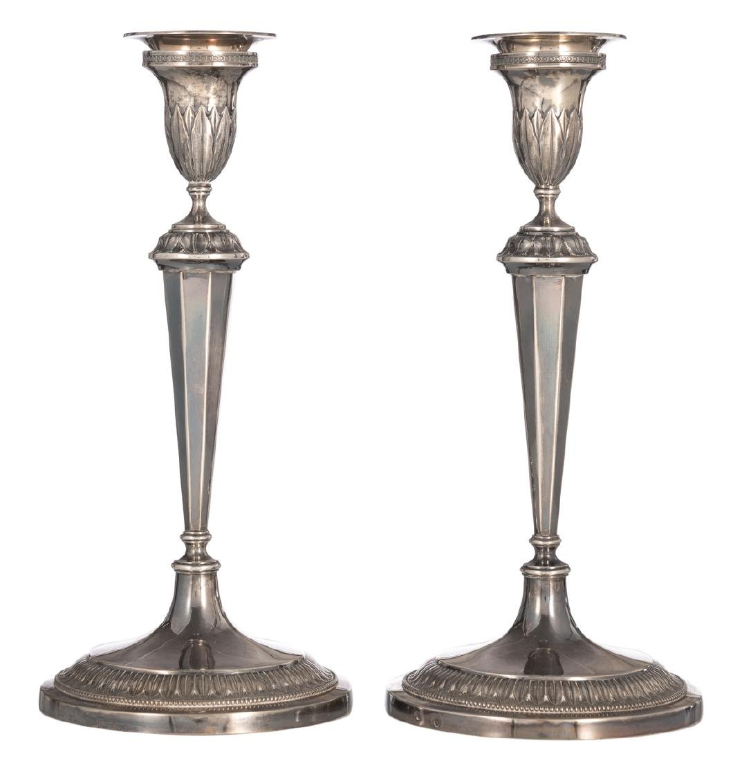 A pair of silver neoclassical candlesticks, Antwerp