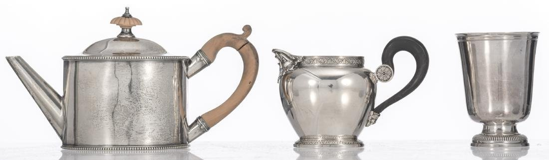 A London hallmarked silver Regency teapot, a late 19th - 3