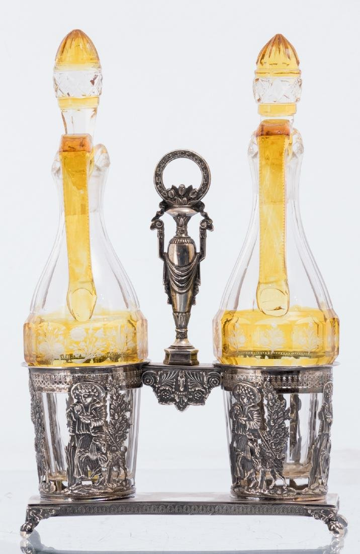 An Austro-Hungarian 19thC silver cruet set, the bottles - 3
