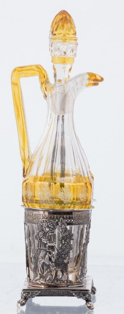 An Austro-Hungarian 19thC silver cruet set, the bottles - 4