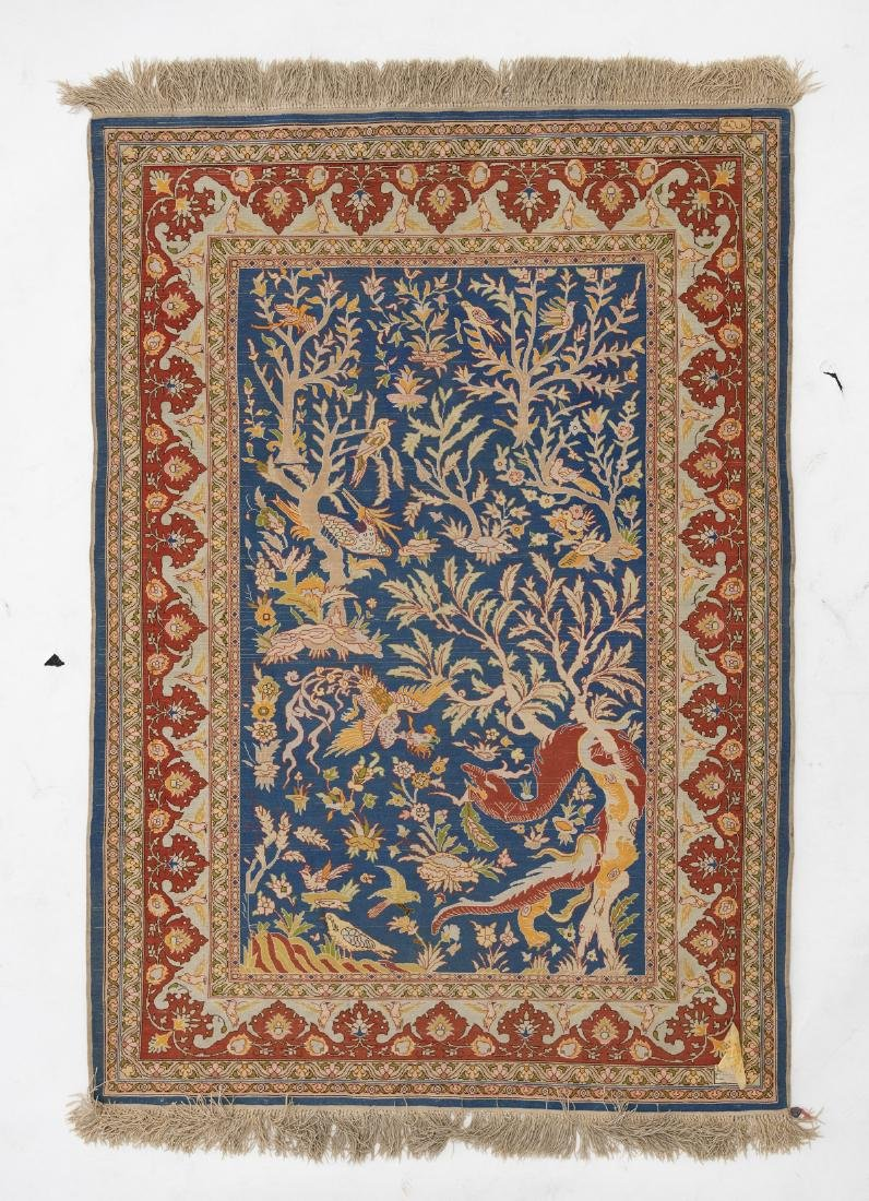 A fine Oriental silk rug, the field decorated with a - 2