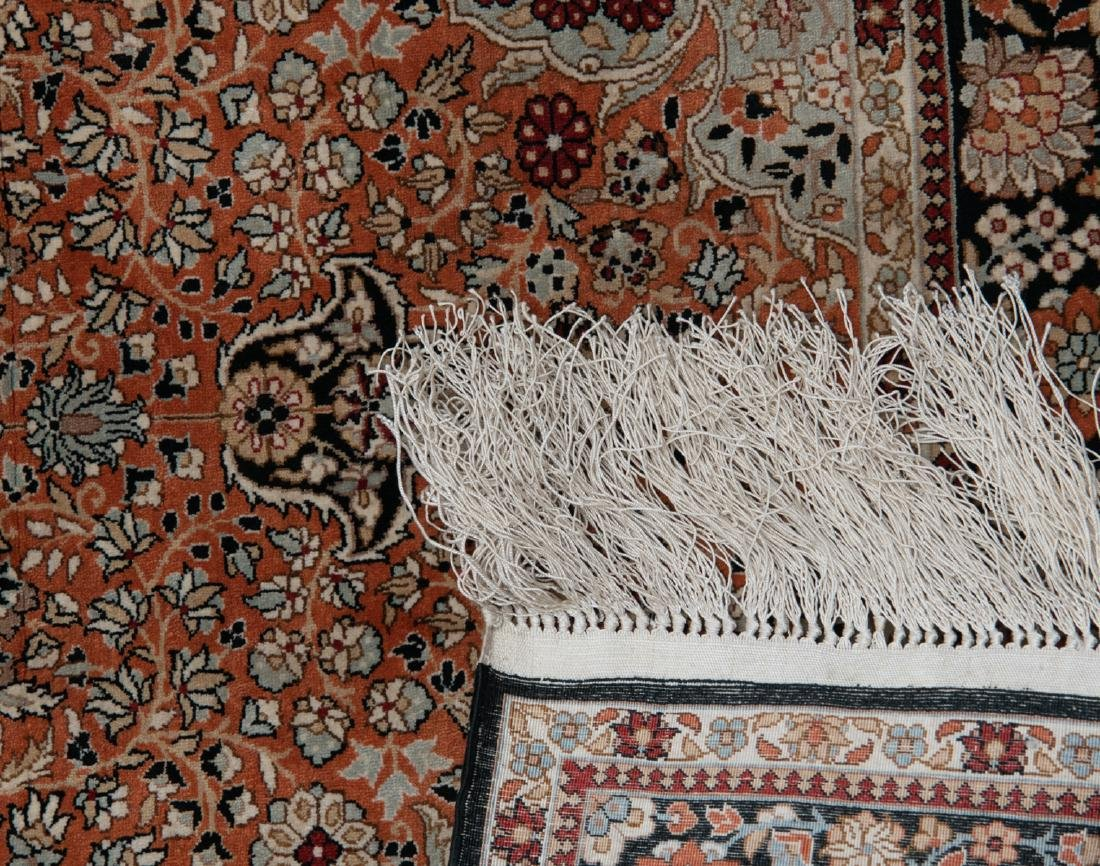 Two Oriental floral decorated silk carpets, one carpet - 5