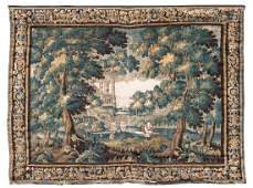 A Flemish 17thC verdure tapestry depicting ducks in a