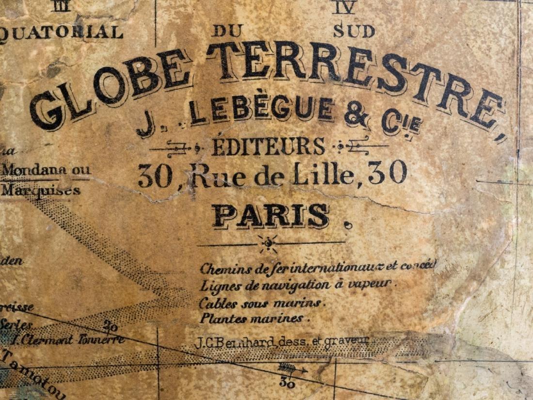 A terrestrial globe by J. Lebegue & Cie - Paris, on a - 5