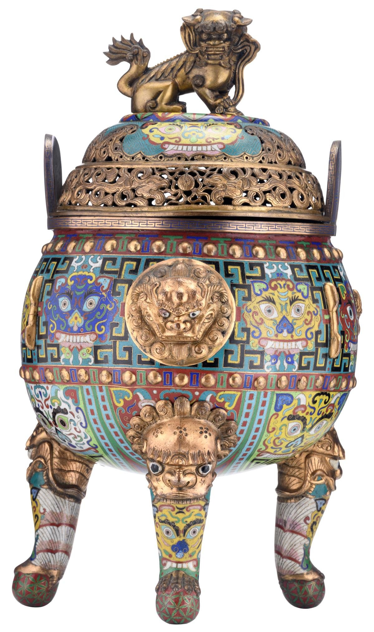 A Chinese tripod bronze cloisonne incense burner, the