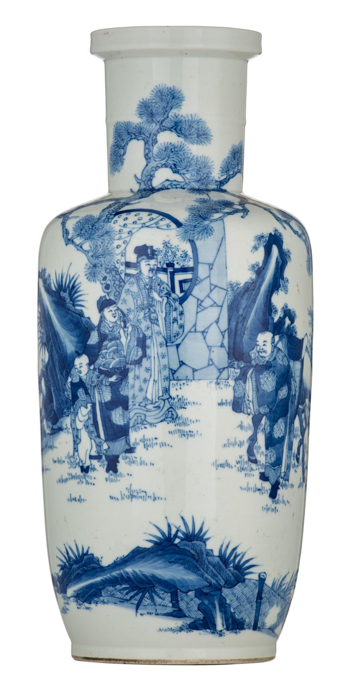 A Chinese blue and white rouleau vase decorated with a