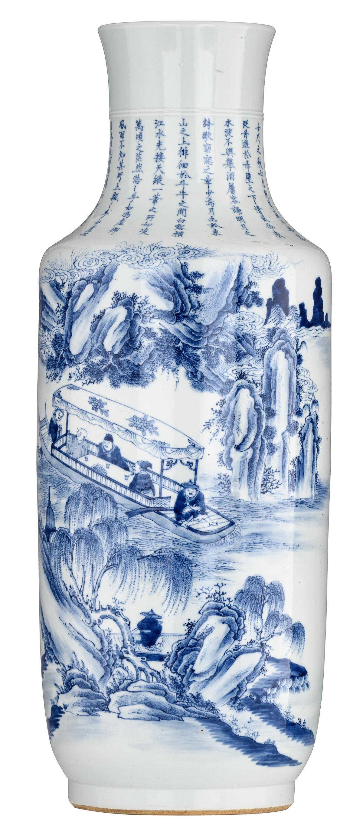 A Chinese blue and white rouleau vase, the decoration