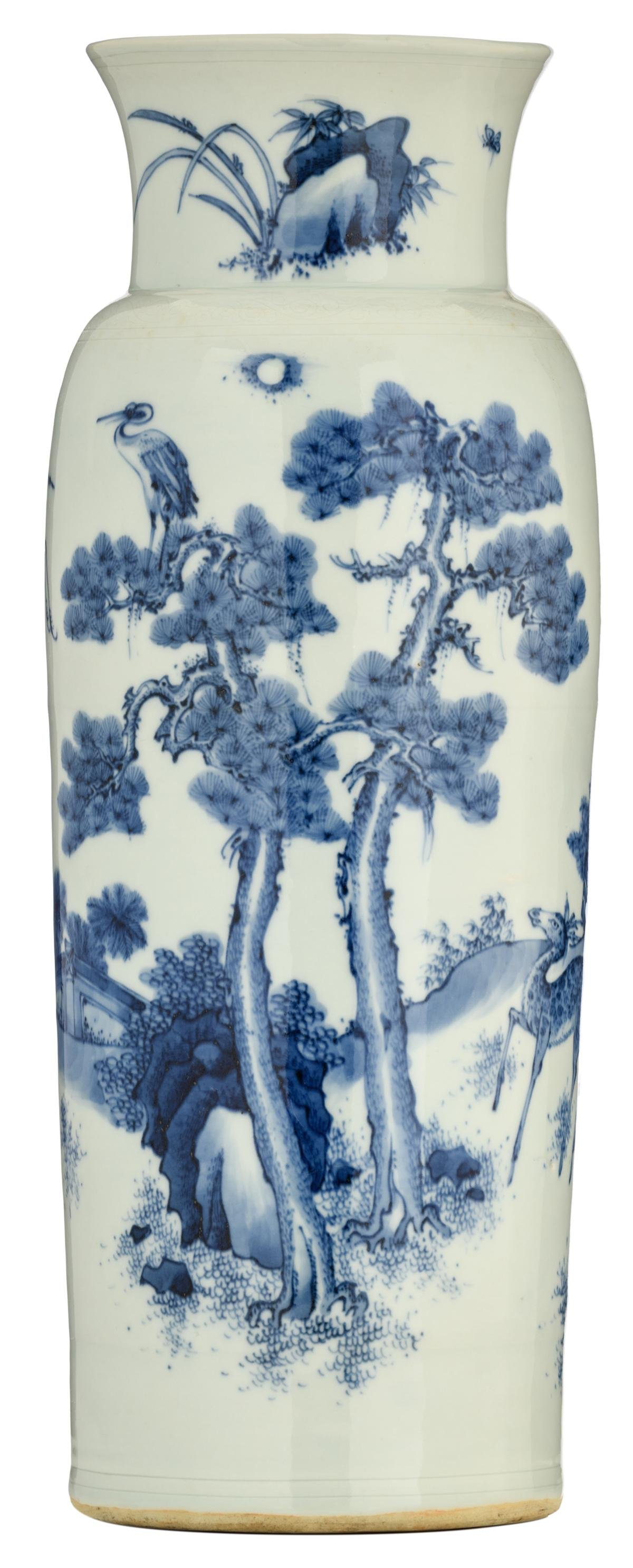 A Chinese blue and white rouleau vase, decorated with a