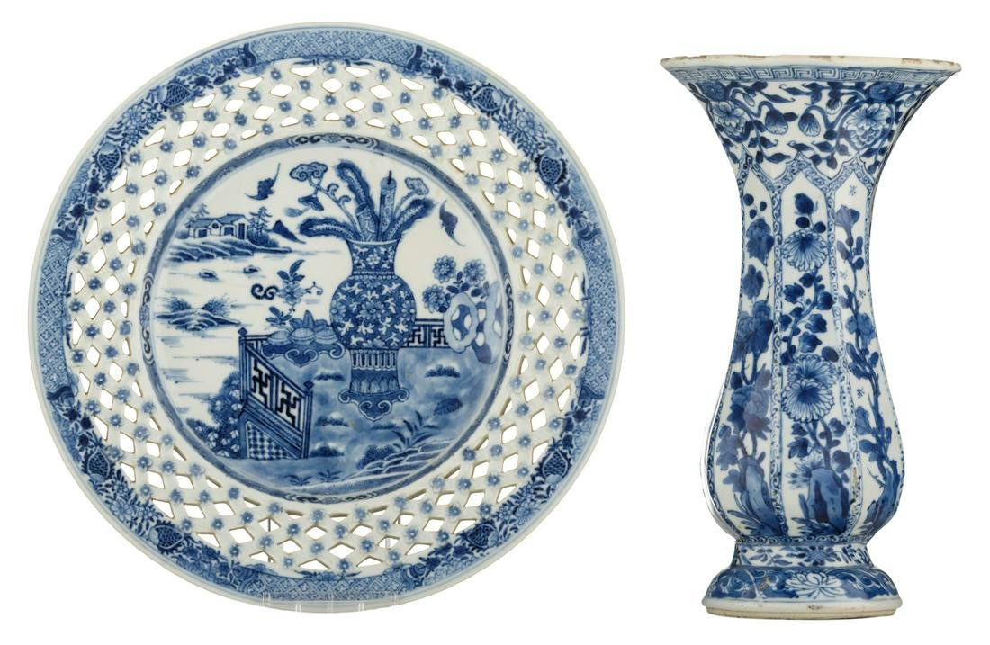 A Chinese blue and white decorated plate with an