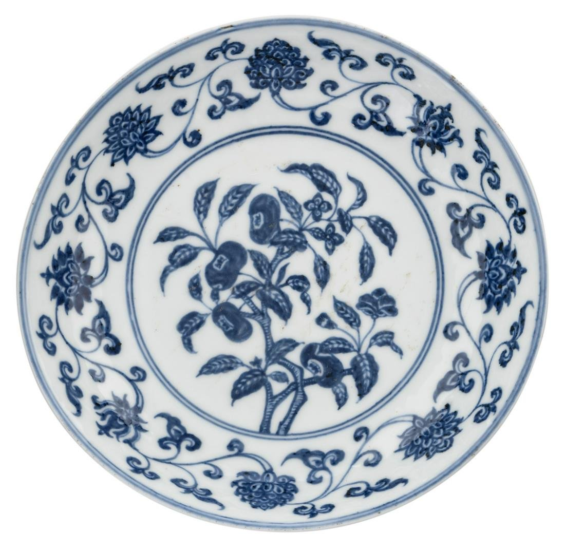 A Chinese blue and white 'peach' plate, with a Xuande