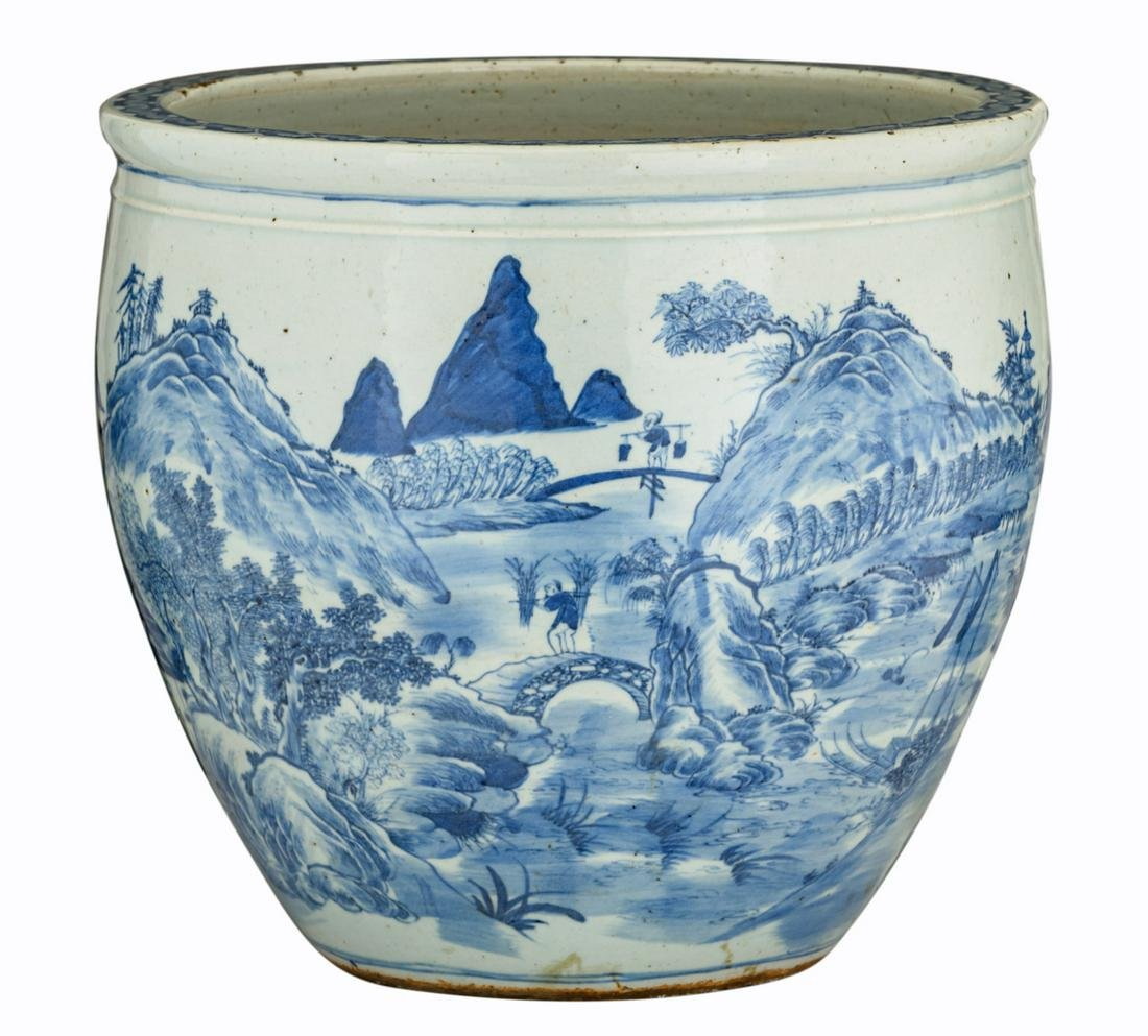 A Chinese blue and white floral decorated cachepot,