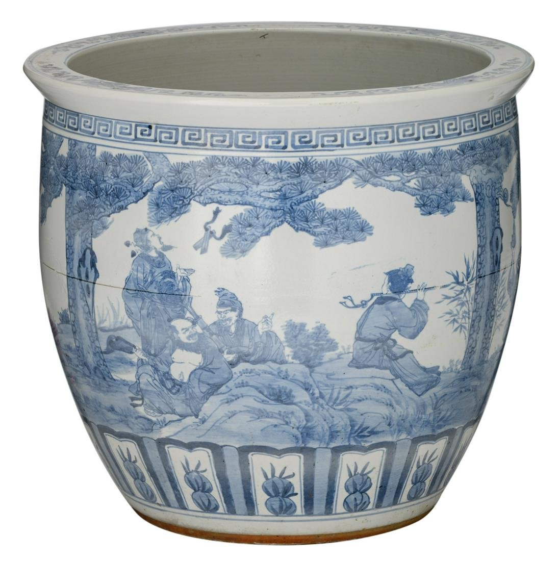 A large Chinese blue and white fish bowl, all over