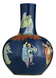 A Chinese blue ground and famille rose bottle vase,