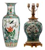A Chinese turquoise ground and famille verte floral