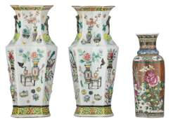 A pair of Chinese famille rose hexagonal vases, relief