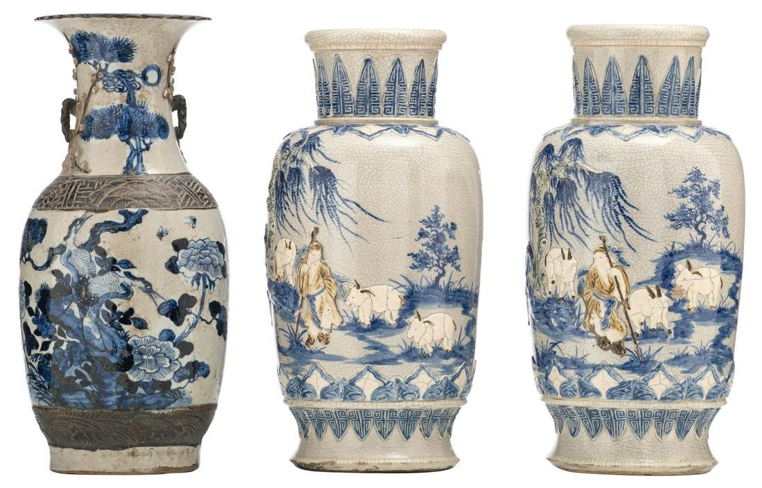 A pair of Chinese grey celadon ground blue and white