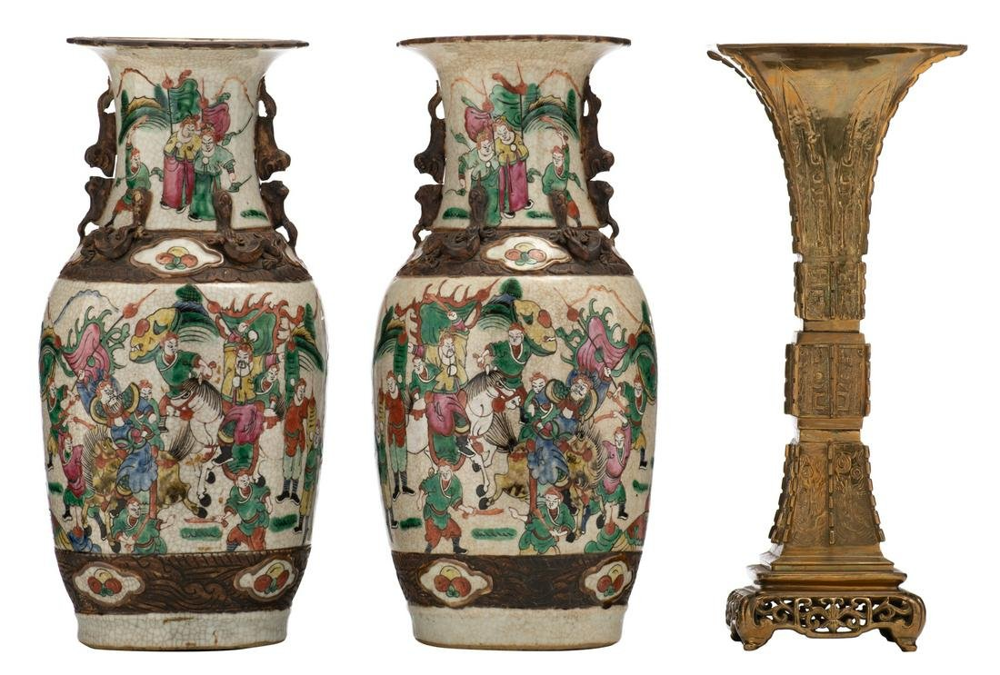A pair of Chinese famille rose stoneware vases,