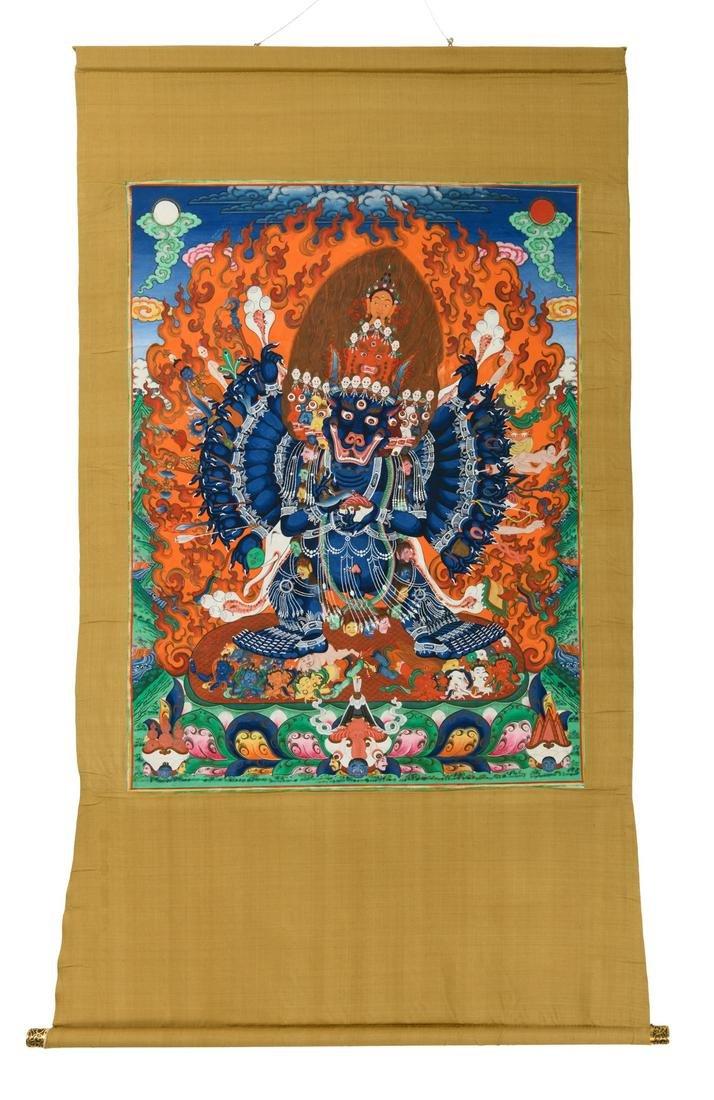 A Tibetan thangka, depicting a multi armed Heruka